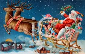 santa claus and reindeer. Modren Santa Old Fashioned Santa Claus And Reindeer Pulling Sleigh  Royalty Free  Clipart Picture Inside And