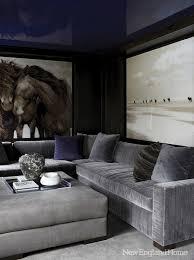 grey velvet sectional. Interior, Gray Velvet Sectional Contemporary Media Room New England Home Detail Grey Wondeful 5: D