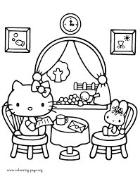 Restaurant Coloring Page Hello Kitty Hello Kitty At A Restaurant Coloring Page