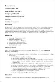 Human Resources Resumes Entry Level Human Resource Administration Resume Template