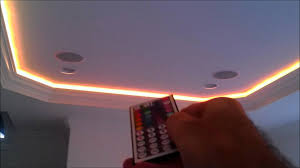 ceiling coving lighting. Flexible 5050 RGB LED Ribbon Light Strips Behind Crown Molding By H3 Homes - YouTube Ceiling Coving Lighting