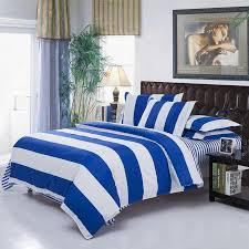 image of duvet cover queen blue strip