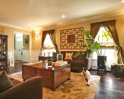 Interior:Classic Oriental Style Living Family Room With Dark Brown  Upholstered Sofas And Wood Coffee