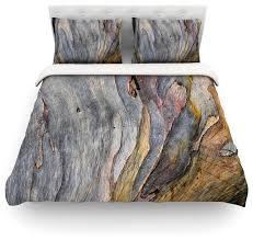 susan sanders milky wood gray brown featherweight duvet cover queen 88 x88