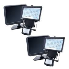 black solar powered motion activated outdoor 60 led security light 2 pack