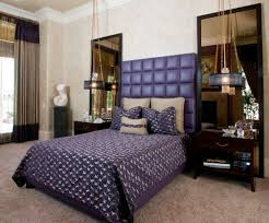 View in gallery Alluring master bedroom with tufted headboard in brilliant  and bright violet