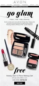 avon free 5 piece holiday glam makeup set offer