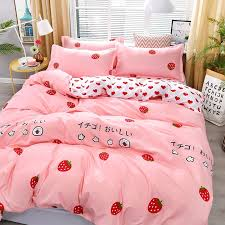 You are currently in the volumes view, to change the display method. 4pcs Kawaii Strawberry Pink Bedding Set Kuru Store