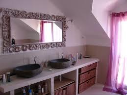 Baeautiful Attic Bathroom Interior With Stone Sink And Purple ...