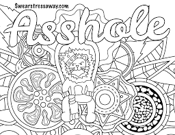 Asshole Swear Word Coloring Page Adult