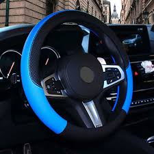 details about pu leather steering wheel cover anti slip protector for car fit 38cm black blue