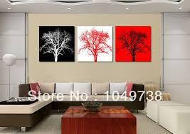 tree wall decor art youtube: red wall decor makipera free shipping  piece art sets font b black b font and font b red b