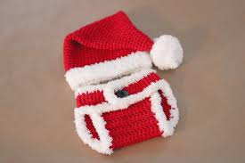 Crochet Santa Hat and Diaper Cover - Repeat Crafter Me
