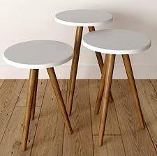 Vivense Misante <b>3</b>-<b>Pcs</b> Set of <b>Coffee Tables</b> - Solid Wooden Legs ...