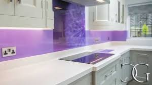 Kitchen Splashbacks Purple Dandelion Printed Glass Kitchen Splashback Creoglass