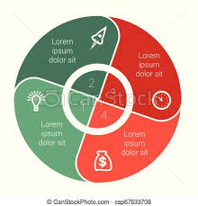 Pie Chart Data Elements For Template Infographics With Four 4 Positions Area Text