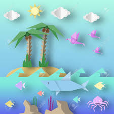 origami style crafted out of paper cut shark palm birds  origami style crafted out of paper cut shark palm birds fish