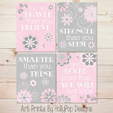 girl wall art pink gray baby room art baby girl decor you are