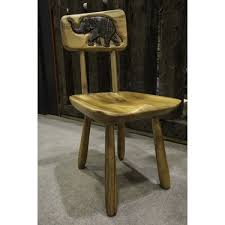 hand carved acacia chair with elephant