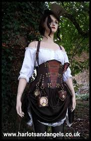steampunk dress leather corset belt outfit steampunk hat skirt shirt