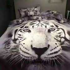 62 3d white tiger printed cotton 4 piece bedding sets duvet covers
