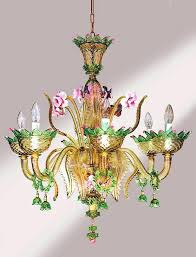 italian hand blown glass chandelier entirely hand made glass chandelier in fume with green and pink
