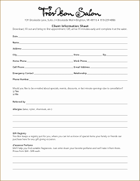 Customer Information Form Template Cool Client Information Sheet
