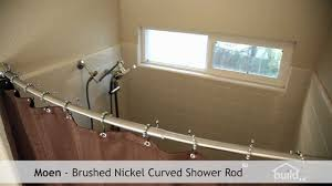 silver curved shower curtain rod with brown curtain plus white tile wall plus shower sets for