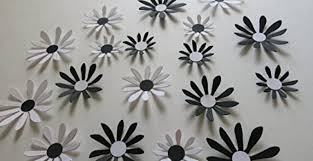 black and white daisies set 18 piece big 3d wall decals 2 3 paper flowers classic wedding decorations bridal shower decor baby nursery art