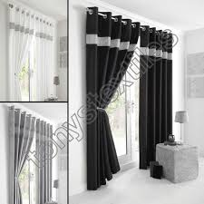 Living Room Ready Made Curtains Fully Lined Pair Eyelet Diamante Ring Top Ready Made Curtains