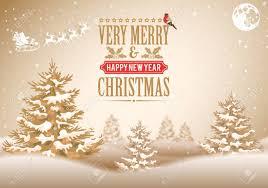 Christmas Background With Retro Label Tree Santa Bullfinch