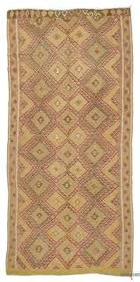 green pink vintage van kilim rug