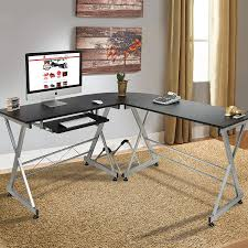 com best choice s wood l shape corner computer desk pc laptop table workstation home office black home kitchen