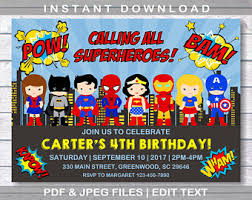 superheroes birthday party invitations superhero invitation etsy