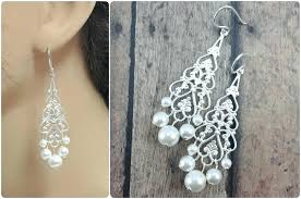 swarovski crystal chandelier earrings wedding bridal pearl bride long uk filigree