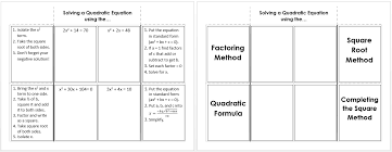 solving a quadratic equation foldable