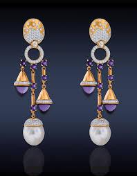jacob co chandelier earrings white australian south sea pearls amethyst white