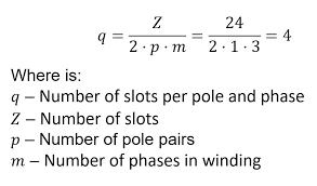 picture of calculation number of slots per pole and phase
