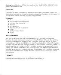 Resume Templates: Therapeutic Recreation Specialist