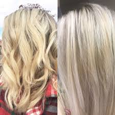 Shimmer Lights Shampoo Before And After After Just One Wash With Purple Shampoo Clairol Shimmer
