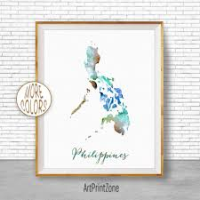 philippines map philippines print philippines art print watercolor print wall art prints artprintzone