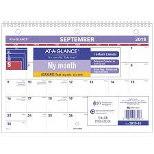 Year At A Glance Calendars At A Glance 2018 2019 Academic Year Desk Wall Calendar 11 X 8 Small Wirebound Sk1616 Calendar Covers 16 Months From September To December One