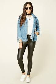 faux leather leggings from forever 21