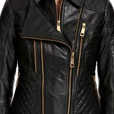 infinity black quilted gold zip leather biker jacket prev