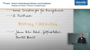 Kalendergeschichten Anekdoten Umgang Mit Texten Deutsch