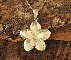 14k yellow gold plumeria pendant 22mm makani hawaii hawaiian heirloom jewelry wholer and manufacturer