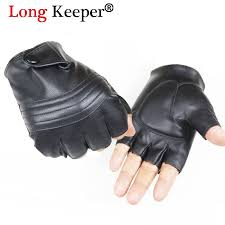 long keeper men leather driving gloves half finger tactical gloves pu leather fingerless for male black guantes luva g223