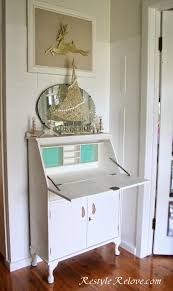 restyle relove white vintage drop front desk with turquoise inserts