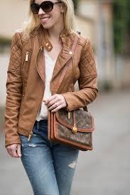 michael kors camel leather jacket with blush pink blouse vintage louis vuitton passy bag