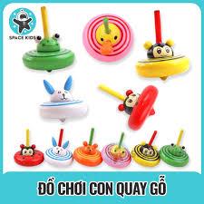 Đồ chơi con quay gỗ hình động vật dễ thương nhiều màu sắc cho bé – Space  Kids